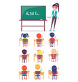 abc lesson in primary school children sit at desk vector image vector image
