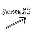 arrow success up hand drawn vector image vector image