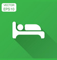 bed icon in flat style sleep bedroom with long vector image