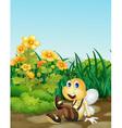 Bee in garden vector image vector image