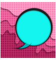 blue comic bubble on pink paper cut background vector image vector image