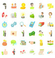 business company icons set cartoon style vector image vector image
