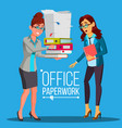 business woman doing paperwork office vector image vector image