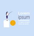 businesswoman fishing rod bitcoin mining crypto vector image vector image