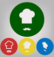 chef hat and moustache sign 4 white vector image vector image