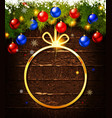 christmas gift card with christmas baubles vector image vector image