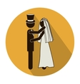 circular shape pictogram of wedding couple vector image