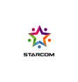 colorful star community logo symbol vector image vector image