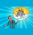 confident businessman offers a fabulous castle in vector image