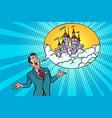 confident businessman offers a fabulous castle in vector image vector image