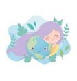 cute girl hugs world cartoon foliage environment vector image vector image