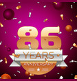 eighty six years anniversary celebration design vector image vector image