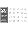 exchange and finance trading icons set vector image