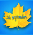first september autumn light blue background vector image vector image