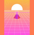 futuristic landscape 1980s style with a pyramid vector image