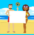fyoung people with soccer ball on summer beach vector image vector image