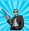 gangster with machine gun pop art style ill vector image