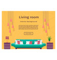 graceful bright living room interior banner for vector image vector image