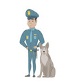 hispanic police officer standing near police dog vector image vector image