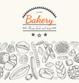 horizontal seamless background with various bakery vector image vector image