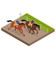 isometric galloping race horses in racing vector image vector image