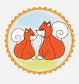 label fox mom and baby vector image vector image