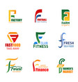 letter f icons for corporate identity vector image vector image