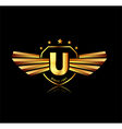 Letter U winged crests logo Alphabet logotype vector image