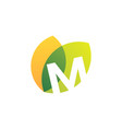 m letter leaf overlapping color logo icon vector image vector image