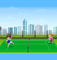 people are playing tennis outdoor vector image vector image