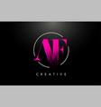 pink af brush stroke letter logo design vector image vector image