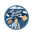 post air mail delivery service mailman vector image vector image
