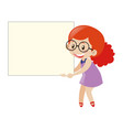 red hair girl holding blank board vector image