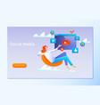 social media strategy social network business vector image