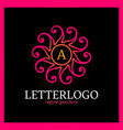 sun heart abstract logo letter a in middle vector image vector image