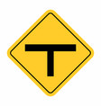 t-junction traffic road sign vector image