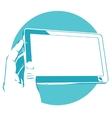 tablet device in hand Touchpad vector image vector image