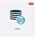 two color mysql icon from programming concept vector image vector image