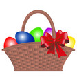 wicker basket with dyed eggs and bow for easter vector image