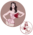 young attractive woman on lingerie hold a heart vector image vector image