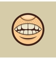 Smile Mouth with Teeth in Circle vector image