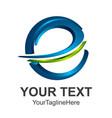 3d abstract letter e logo design template