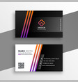 abstract black visiting card with colorful lines vector image vector image