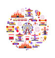 amusement park icon set in circle shape vector image vector image