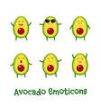 avocado smiles cute cartoon emoticons emoji icons vector image vector image