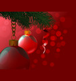 background from christmas balls hanging a branch vector image vector image