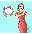 beautiful woman with open mouth talking fancy vector image vector image