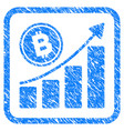 bitcoin growth trend framed stamp vector image vector image