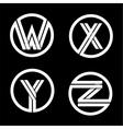 capital letters w x y z double white stripe vector image