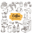 coffee set of hand drawn elements vector image vector image